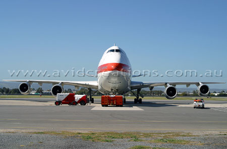 Martinair 747-200F after delivering a special cargo of white rhinoceros.